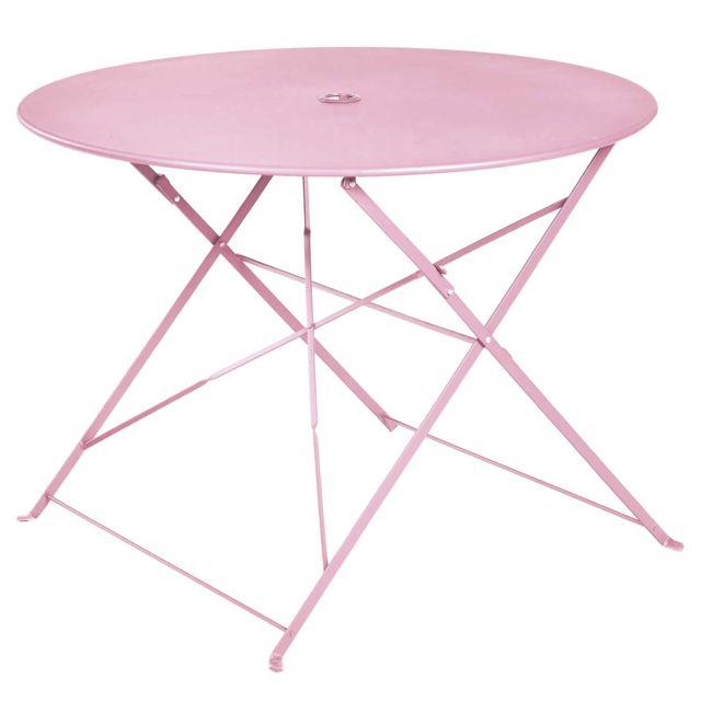Table ronde pliante en métal, coloris chamallow - Dim : D100 x 70cm