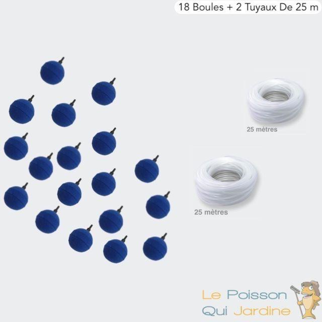 Le Poisson Qui Jardine Pack 18 Diffuseurs D'air, Boule 5 cm + 2 Tuyaux De 25m, Aération Bassin