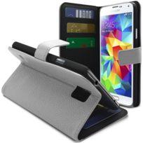 Caseink - Coque Housse Etui Folio Cover Samsung Galaxy S5 G900, Cuir Eco Pleine Fleur Blanche