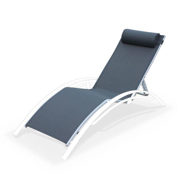 ALICE'S GARDEN Assise pour bain de soleil LOUISA, en aluminium et textilène, avec têtière - Gris/blanc