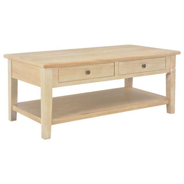 Vidaxl Bois Table Basse Table d'Appoint Etagère Salon Bout de Canapé Maison