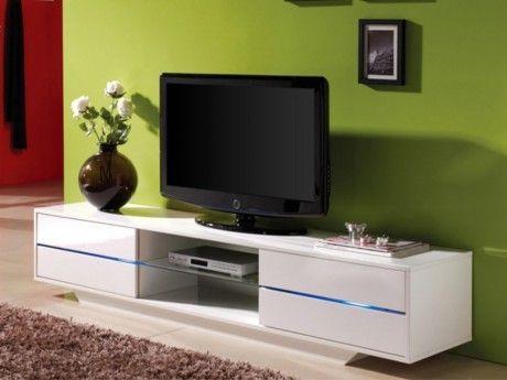 VENTE-UNIQUE Meuble TV PEGAZE - MDF laqué blanc - LEDs - 4 tiroirs