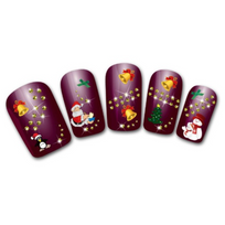 Marque Generique - Stickers autocollants ongles Noël cloches pingouins