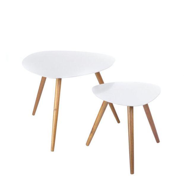 jja tables basses mileo set de 2 blanc pas cher achat. Black Bedroom Furniture Sets. Home Design Ideas
