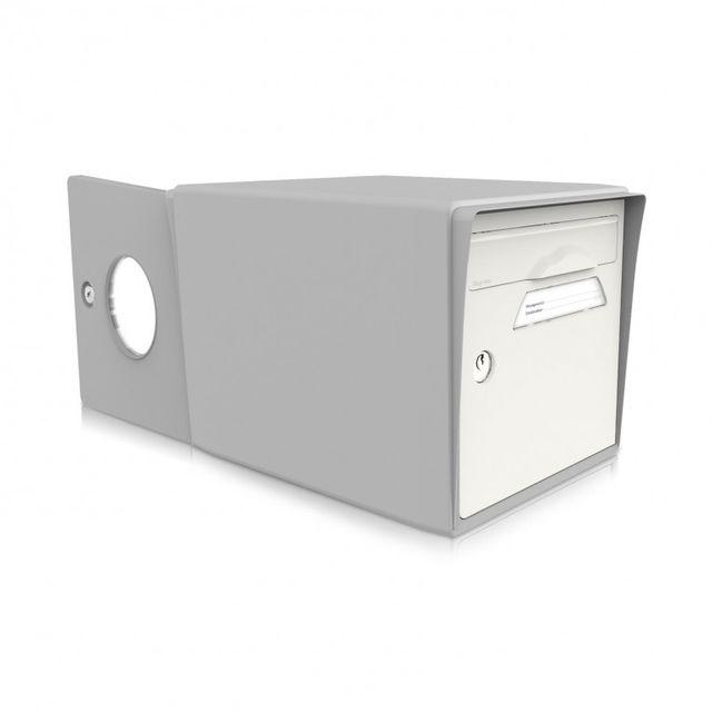 signee bo te aux lettres 2 portes blanc uni gris sign e pas cher achat vente bo te aux. Black Bedroom Furniture Sets. Home Design Ideas
