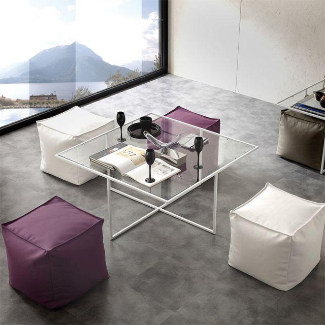 Nouvomeuble Table basse en verre avec poufs design Matheo
