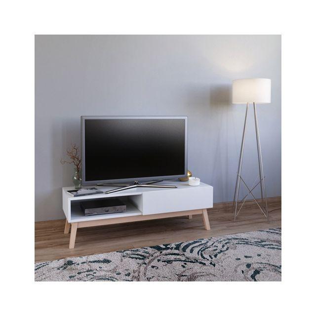 No Name Meuble Tv Home 120 Cm 1 Tiroir 1 Niche Blanc Pas Cher