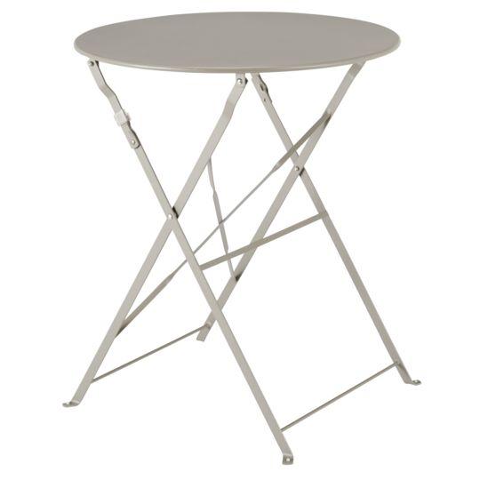 Table Bistrot ronde pliante - Taupe à Prix Carrefour