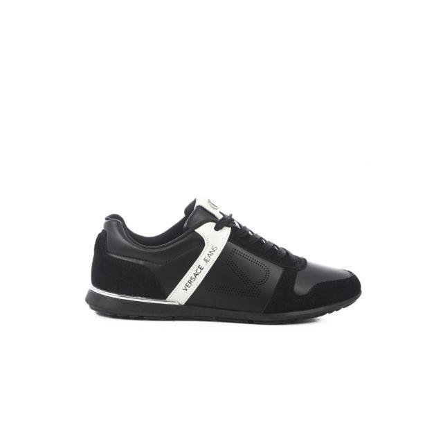 55354bcaf333 Versace - Sneakers Fini Cuir Tendance Yrbsb7 - Jeans Les Noirs - 40 - pas  cher Achat   Vente Baskets homme - RueDuCommerce
