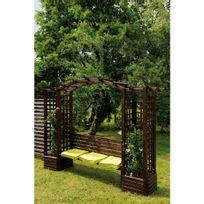 Jardipolys - Pergola en bois avec banc et bacs à fleurs - longueur 233 cm - Florence