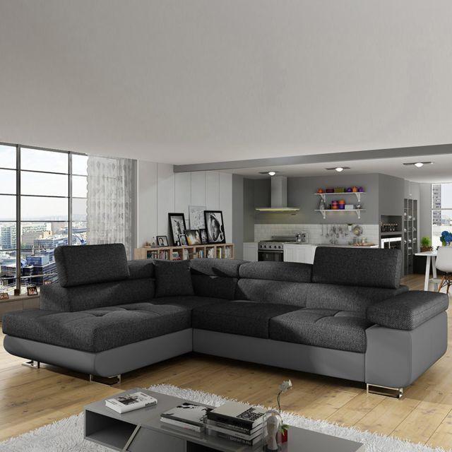 Sofamobili Canapé angle à gauche convertible gris chiné Scott