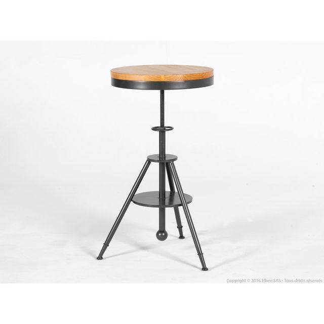 Akhal Table De Bar Réglable En Hauteur En Bois Et Métal Hauteur 73