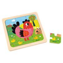 Janod - Puzzle poule Violette 9 pièces