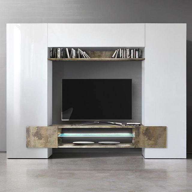 Sofamobili Meuble tv mural blanc laqué et couleur bois Argos 2