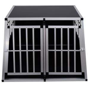 homcom cage de transport pour chien en aluminium noir. Black Bedroom Furniture Sets. Home Design Ideas