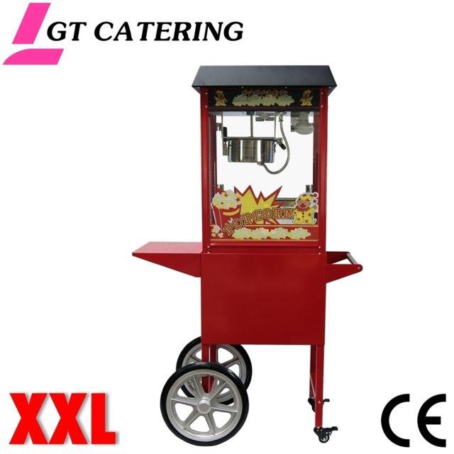 GT CATERING Machine à pop corn professionnelle avec chariot