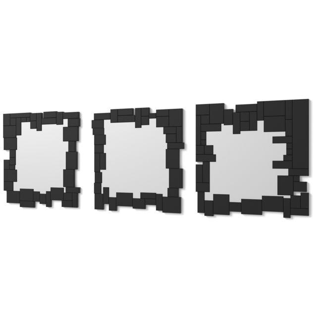 Dekoarte E073 - Miroir mural décoratif moderne avec un cadre décoré et des cristaux noirs dans différents plans, divisé en 3 pièc
