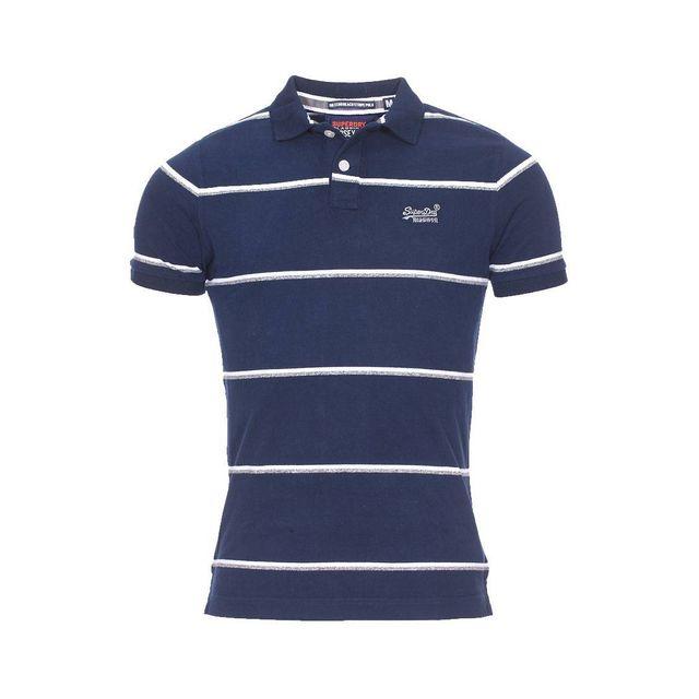 Superdry - Polo en coton bleu marine à fines rayures blanches et grises d1b2fd4b5f95