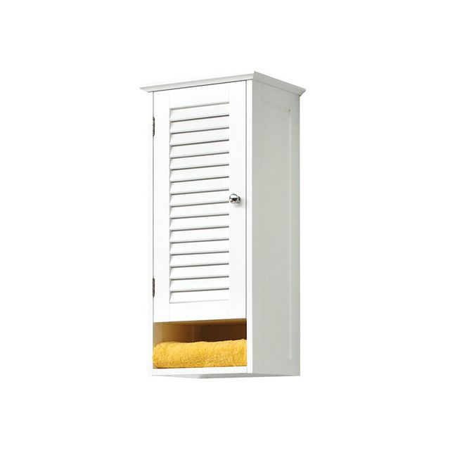 Akhal meuble haut 1 porte avec persiennes en bois Meuble haut salle de bain pas cher