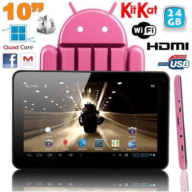 Yonis Tablette tactile 10 pouces Android 4.4 KitKat Quad Core 24 Go Rose