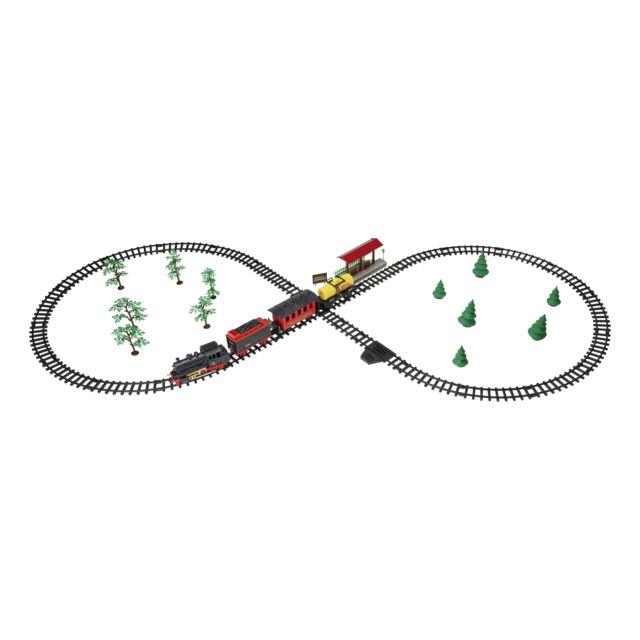 SPEED TRACK Train électrique Royal Express avec locomotive à vapeur et 3 wagons - TY06339 Tchou! Tchou! Ce train à vapeur transporte ses voyageurs et sa cargaison à travers la forêt et la campagne pour arriver à bon