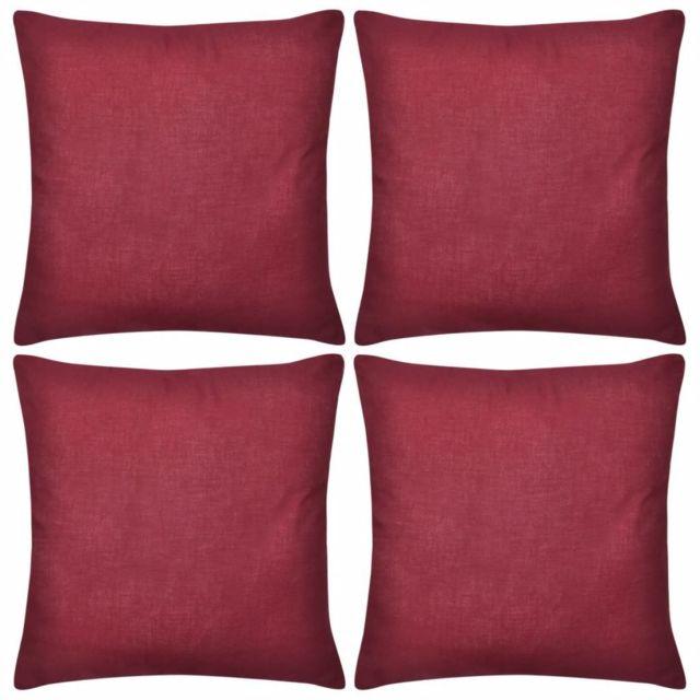 Vidaxl   4 housses de coussin en coton 40 x 40 cm Bordeaux | Rouge