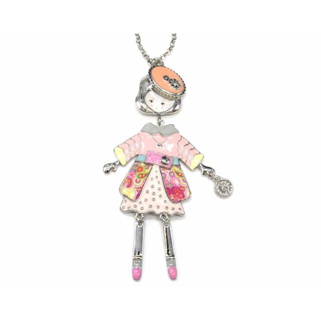b26270b5081d ... Articulée Femme Robe Métal Peint Rose avec Pull, Ceinture, Jupe Pois  Motif Paisley et Béret - pas cher Achat   Vente Chaînes, colliers -  RueDuCommerce
