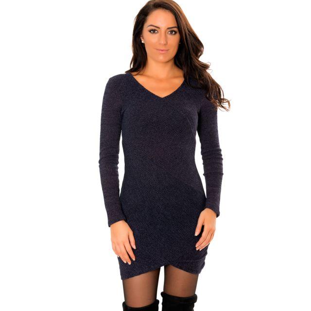 Grossiste-en-ligne - Ravissante robe pull marine à col V avec fente croisée bdbea241001b