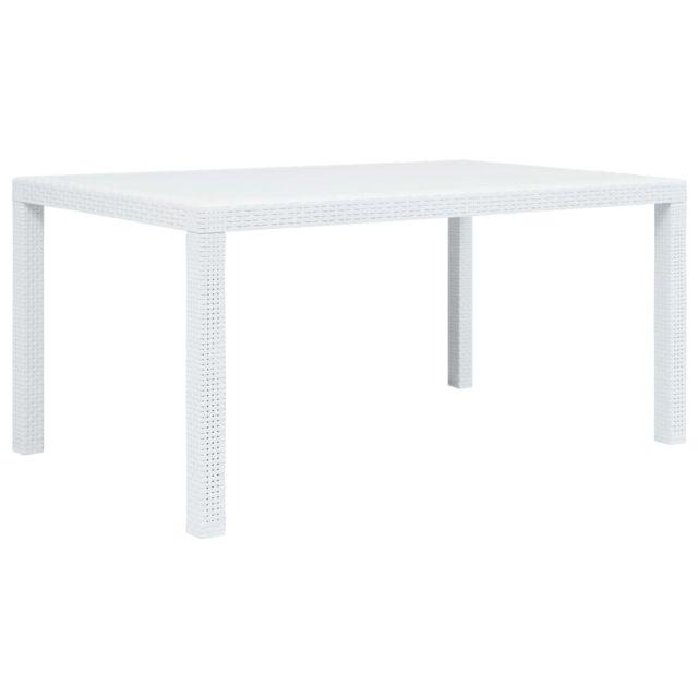 Vidaxl Table de jardin Blanc 150x90x72 cm Plastique Aspect de rotin