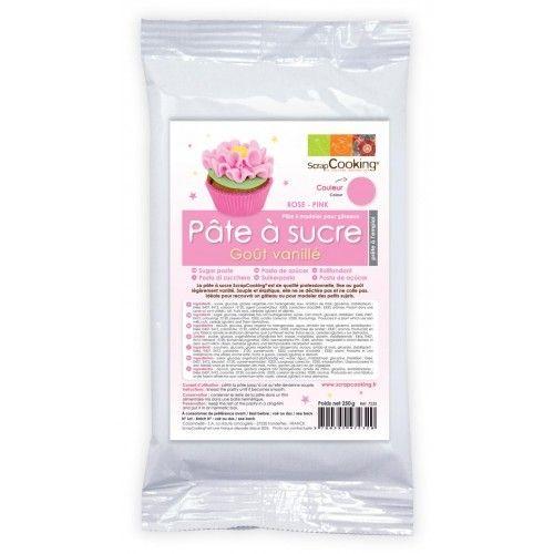 Scrapcooking Sachet pâte à sucre rose arôme vanille 250 g