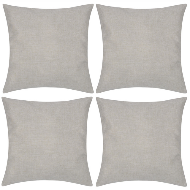 Rocambolesk Superbe 4 Taies d'oreiller en faux lin 80 x 80 cm Beige neuf