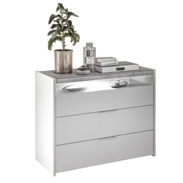 Tousmesmeubles Commode 3 tiroirs 1 niche Blanc/Ciment - Aniece