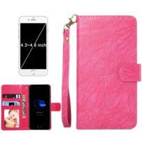 Wewoo - Coque magenta pour iPhone 8 & 7 & 6s & 6 & 5 & 5s Se, Samsung Galaxy Siv & Siii, Taille: 13,5 x 7 x 1,8 cm ordinateur portable, housse de protection et cadre magnétique rabat horizontale avec en cuir