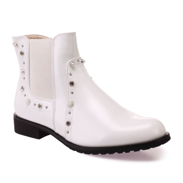 et chelsea Bottines perles blanches style à Lamodeuse QdtsrohxBC