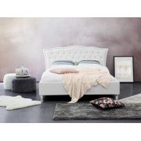 Beliani - Lit en cuir blanc - Lit double - Lit avec rangement - Lit 140x200 cm - Metz