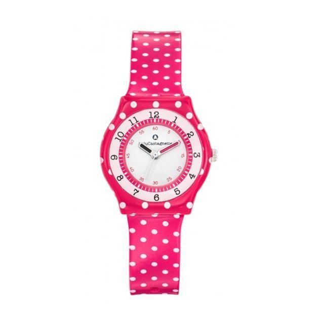 1a39c947c8340 Blue Pearls - Montre Fille LuluCastagnette Jardin Secret Bracelet en  Plastique Rose à pois Blancs -