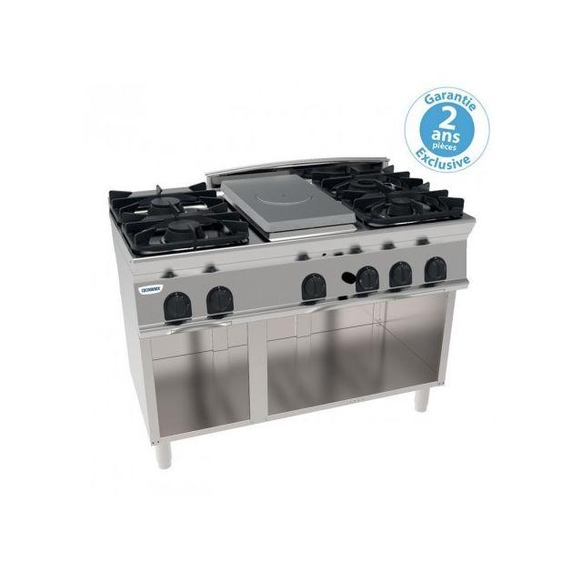 Materiel Chr Pro Plaque de cuisson - top 4 feux vifs gaz et 1/2 plaque coup de feu sur placard ouvert - gamme 700 - Tecnoinox - 700