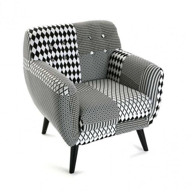 Inside 75 - Fauteuil Poulle motif pied de poule noir/blanc Bi color
