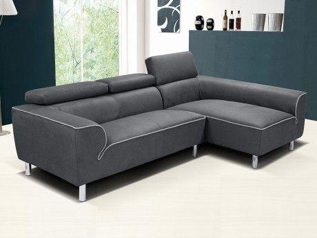 VENTE-UNIQUE Canapé d'angle en tissu TOULA avec têtières - Anthracite - Angle droit