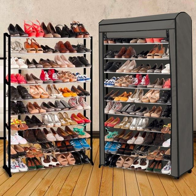 Idmarket etagère range <strong>chaussures</strong> 50 paires eco avec sa housse grise