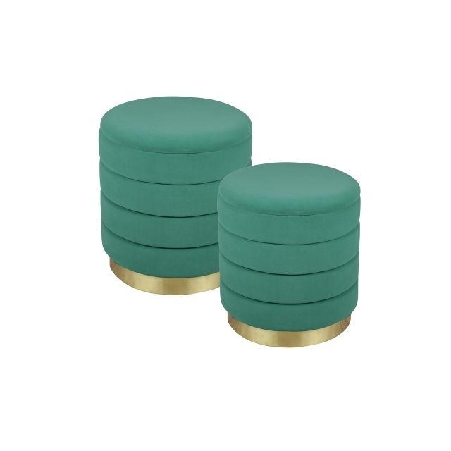TABLE PASSION Set de 2 poufs vert Bibum 44 et 38 cm