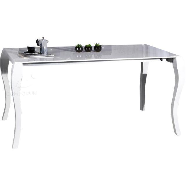 Comforium Table à manger blanche brillante extensible de style baroque