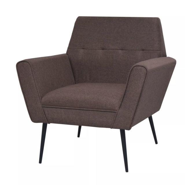 Vidaxl Fauteuil Acier et tissu Marron | Brun - Fauteuils - Fauteuils club, fauteuils inclinables et chauffeuses lits | Brun | B