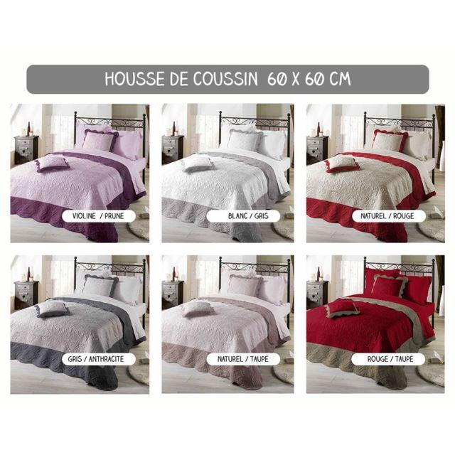 sans marque housse de coussin boutis 60 x 60 cm emma diff rents coloris blanc gris. Black Bedroom Furniture Sets. Home Design Ideas