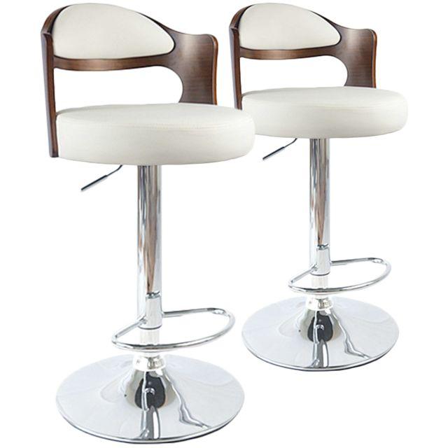 MENZZO - Lot de 2 chaises de bar Ruben Bois Noisette & Blanc - pas ...