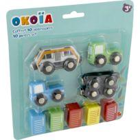 Okoia - Coffret circuit 10 accessoires en bois : Transport de marchandises