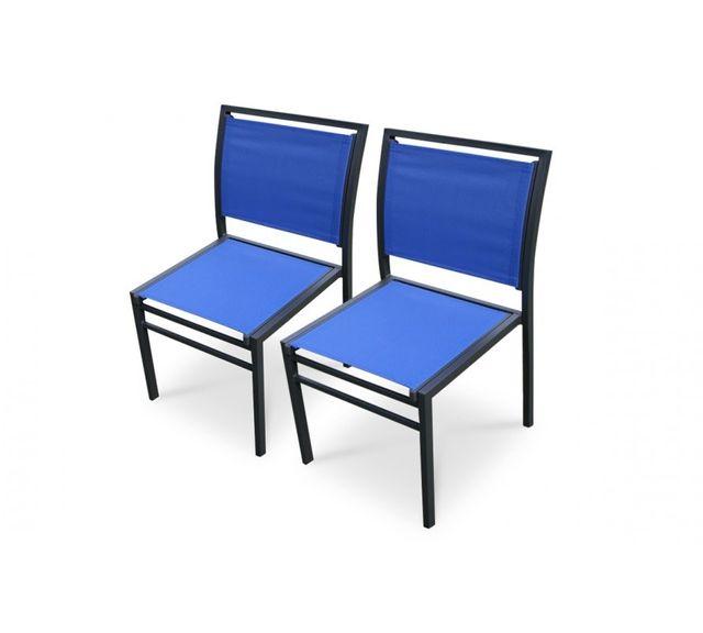 Dcb Garden Lot de 2 Chaises aluminium noir et textilène bleu