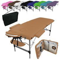 VIVEZEN - Table de massage pliante 2 zones en aluminium + accessoires et housse de transport