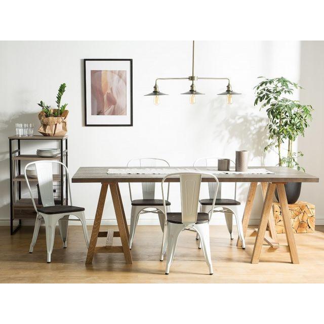Beliani Lot de 2 chaises blanc-bois foncé Apollo