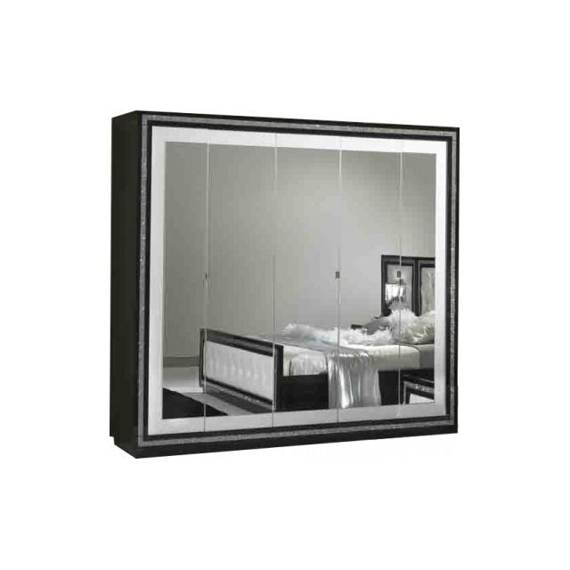 Decodesign Armoire 5 portes Krystel noir-blanc
